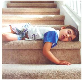sleep disorders in children child sleeps on stairs