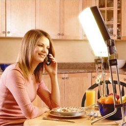 Bright Light Therapy Through the Looking Glass woman sitting before a light source