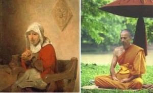 woman praying monk meditating